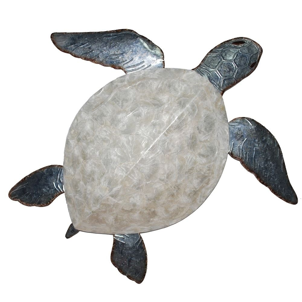 Sea Turtle Wall Decor Pewter With Pearl Shell Multicolor