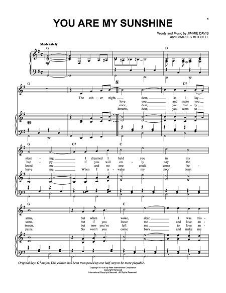 Banjo u00bb Banjo Tablature You Are My Sunshine - Music Sheets, Tablature, Chords and Lyrics