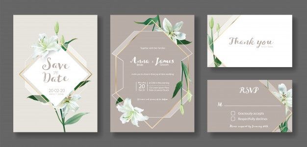 Set Of Wedding Invitation Card Template White Lily Flower In 2020 Wedding Invitation Cards Wedding Invitation Card Template Wedding Invitation Vector