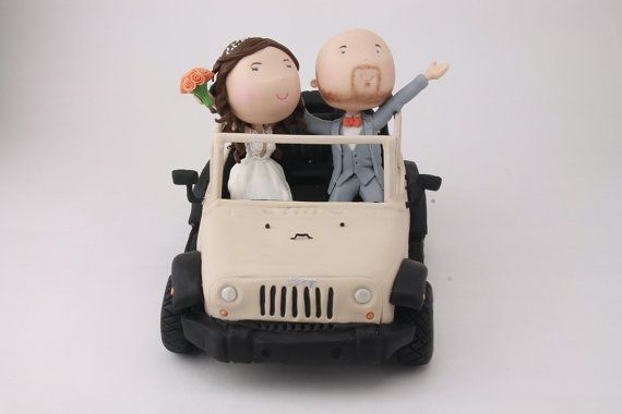 Couple Riding A Jeep Just Married Wedding Cake Topper Etsy Wedding Cake Toppers Just Married Handmade Cake Topper