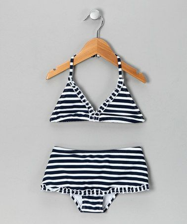 Take a look at this Navy Stripe Ruffle Bikini - Girls by In Gear on #zulily today!