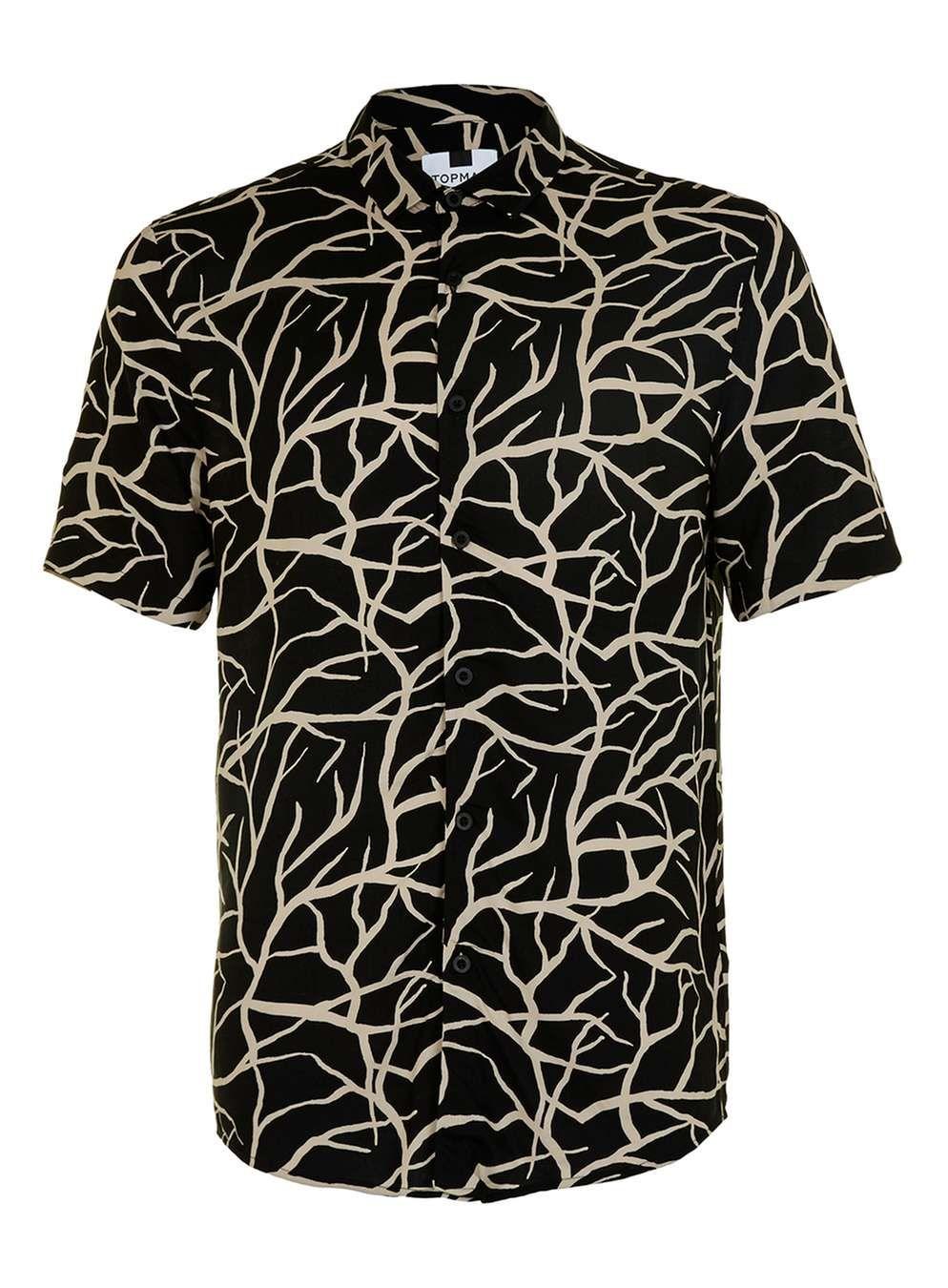 61014f7ff24 Brown Printed Viscose Short Sleeve Casual Shirt - Collared Shirts ...