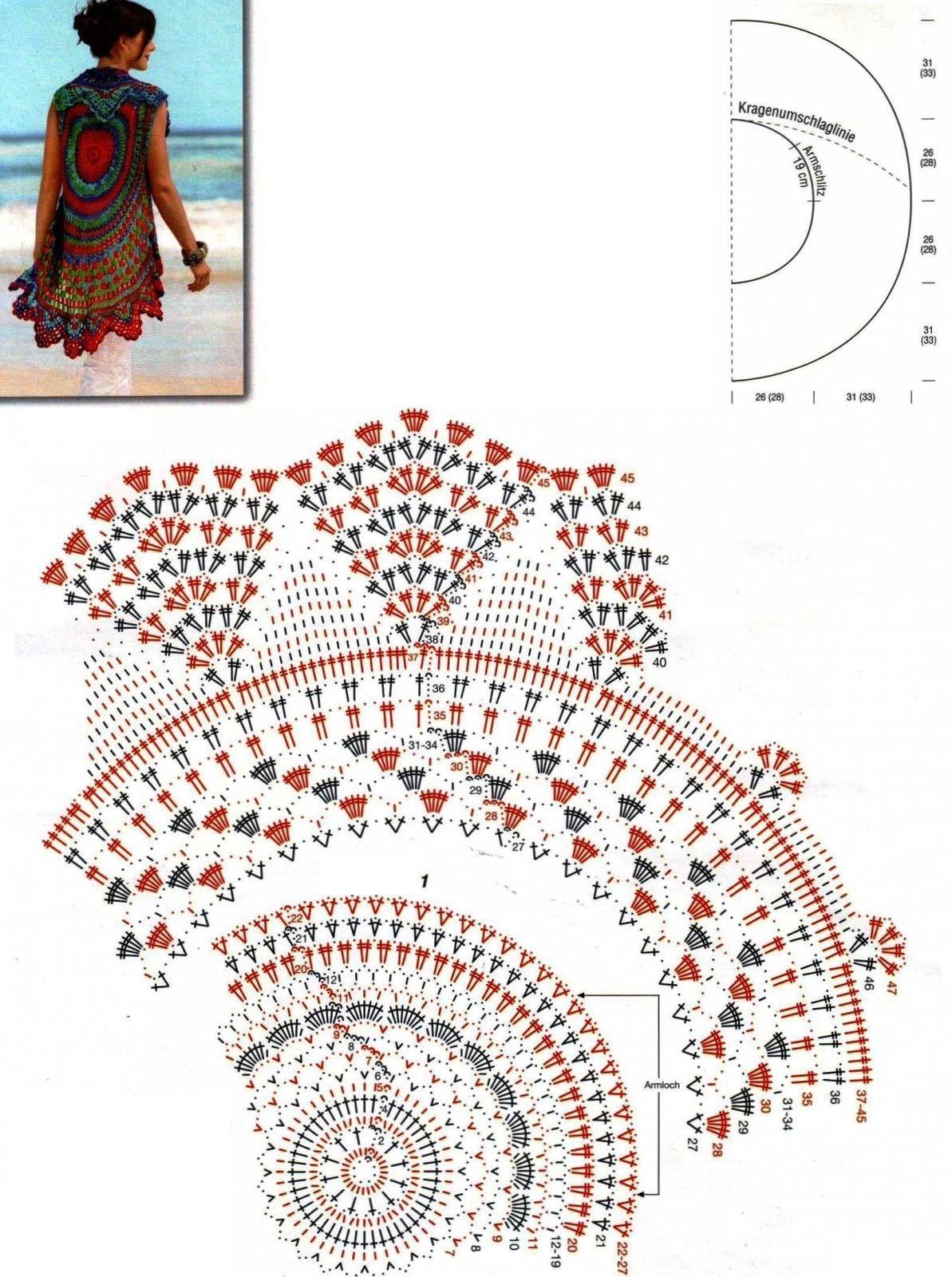 Tunica-Chaleco con Circulo Crochet - Patrones Crochet | Arte que ...