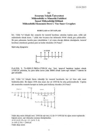 Muhendislik Ekonomisi Dersi 1 Vize Sorulari Ve Cevaplari Muhendislik Egitim Finaller