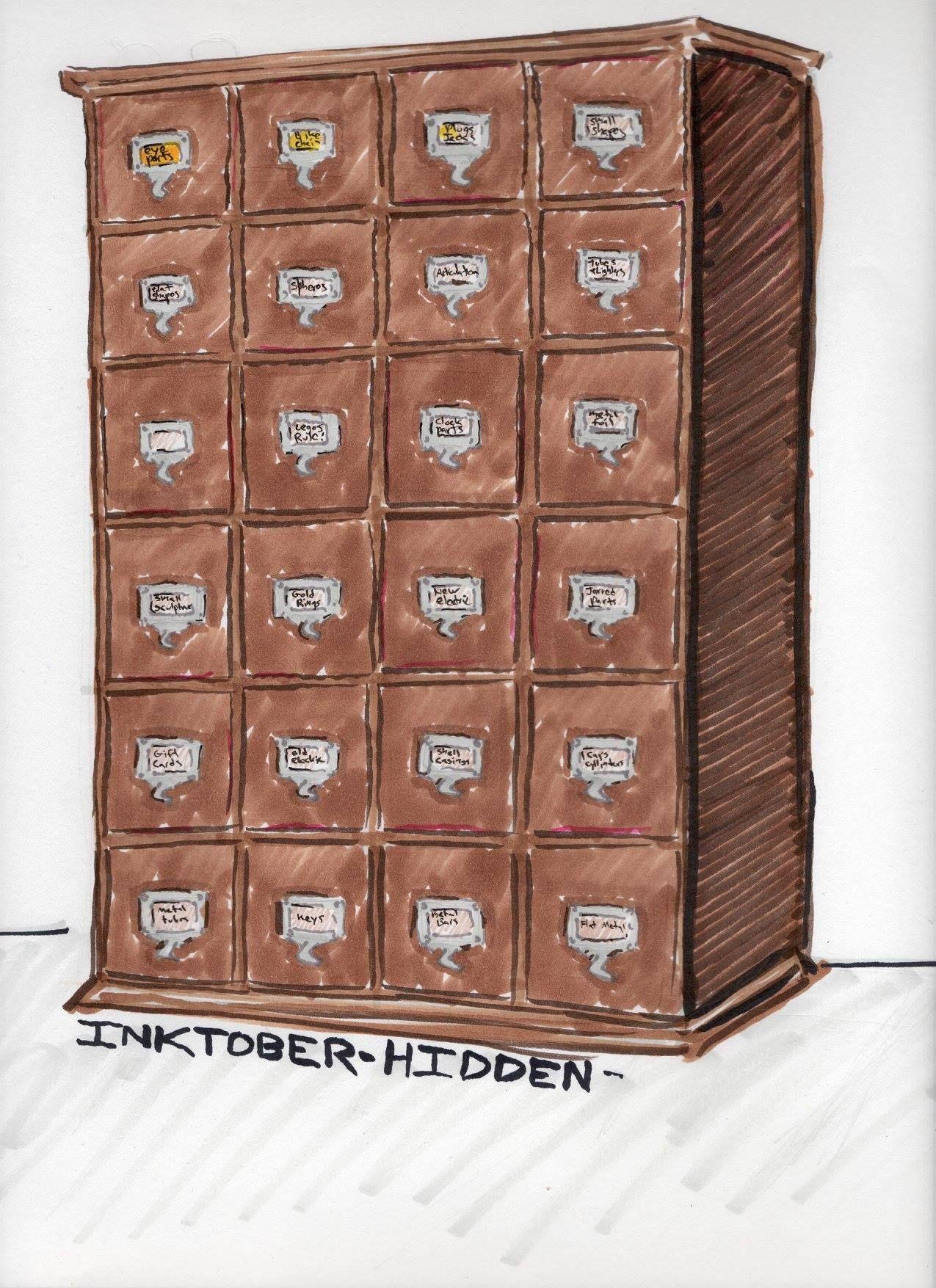 "Inktober 6 ""hidden"" hardware cabinet."