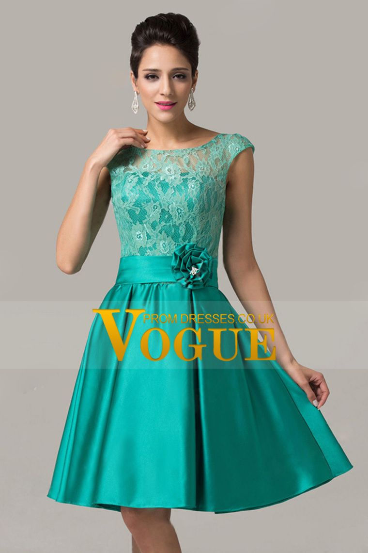 bateau a line kneelength prom dresses lace and satin with
