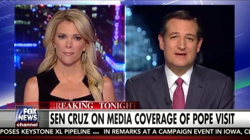 At the top of Tuesday's The Kelly File, host Megyn Kelly joined MediaBuzz host Howard Kurtz and 2016 Republican presidential candidate Ted Cruz in scorching the liberal media for their portrayal of Pope Francis' visit to the United States as bad for the GOP while ignoring his steadfast support for life and traditional marriage.