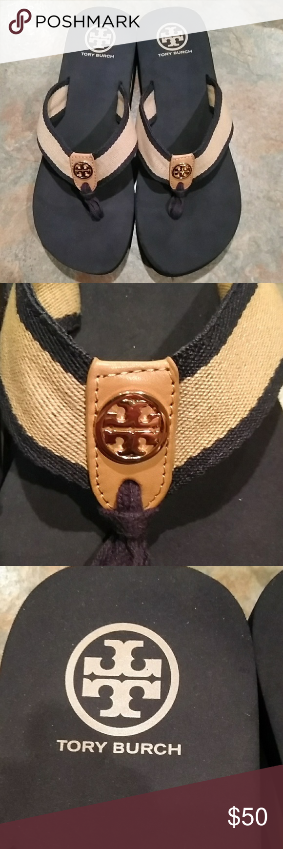 Tory Burch Shoes | Tory Burch Wedge Sandals | Color: Blue/Tan | Size: 9 #lowwedgesandals Tory Burch  wedge sandals Tory Burch sandals with low wedge heel. Tan and baby in color with cloths straps with color emblem. In great condition. Tory Burch Shoes Sandals #lowwedgesandals