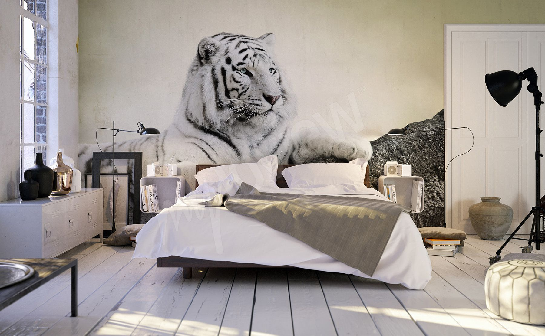 Wall Mural White Tiger With Images White Tiger White Mural