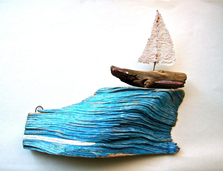 Wooden boat on a blue wave original illustration on reclaimed wood