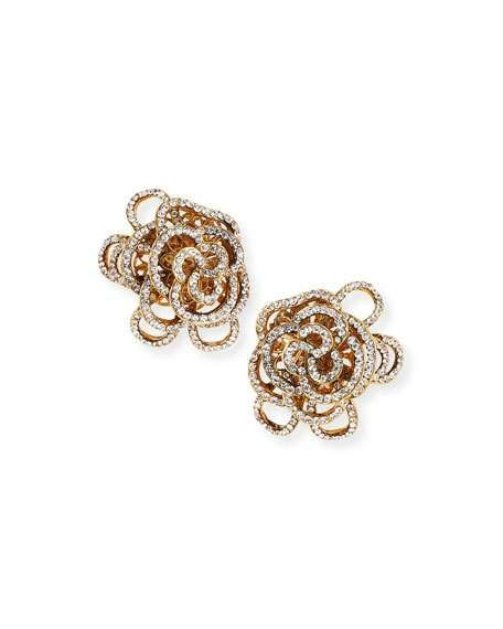 Jose & Maria Barrera Pavé Crystal Flower Double-Drop Clip-On Earrings kWjOyuy