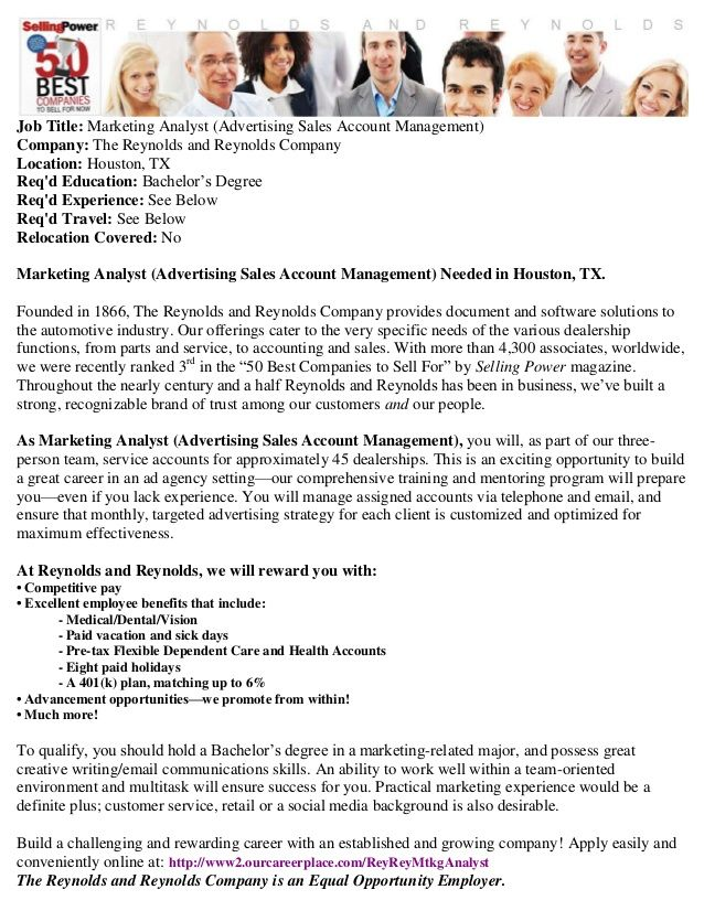 Houston Tx Jobs Marketing Analyst Advertising Sales Account