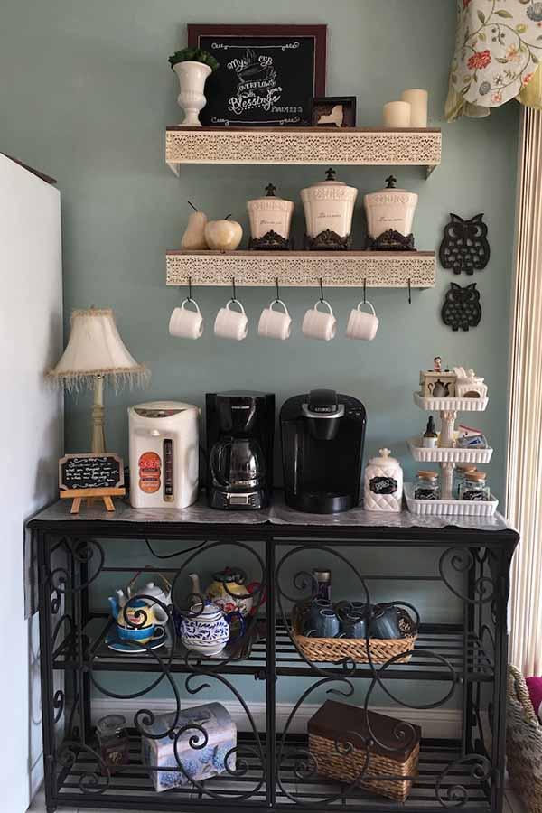 أجمل 20 تصميم لـ ركن القهوة كوفي كورنر وكوفي بار منزلي هذا العام ديكورات أرابيا Coffee Bar Home Home Coffee Bar Coffee Bar Design