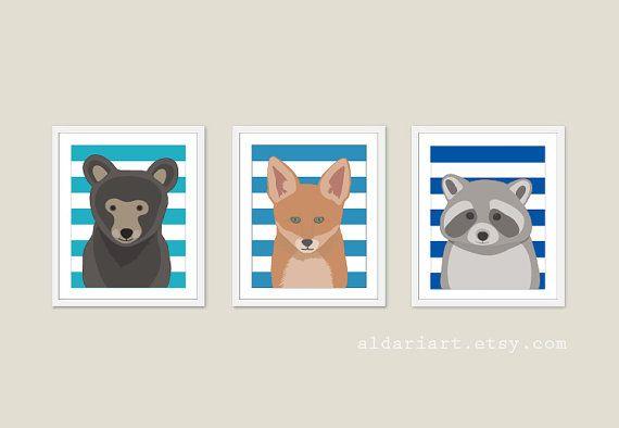 Woodland Animals Nursery Wall Art  Bear Fox Racoon by AldariArt, $30.00