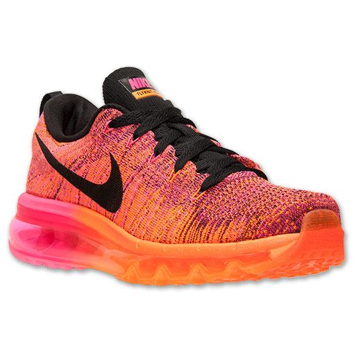 Women's Nike Flyknit Air Max Running Shoes | Finish Line | Total Orange/ Black/