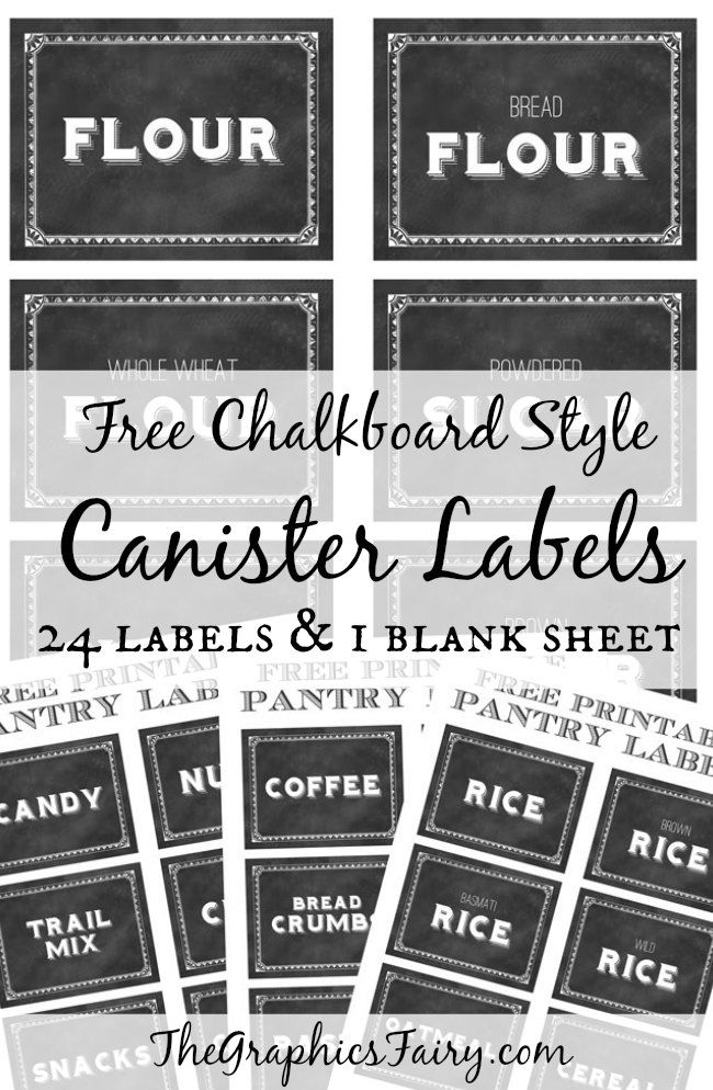 organize your kitchen with these free chalkboard style canister labels