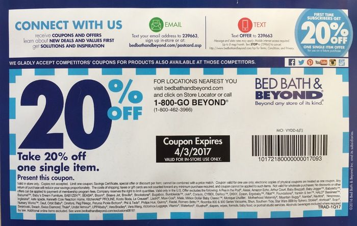 Bed Bath Beyond Coupon 20 Off Any Item In Store Bed Bath