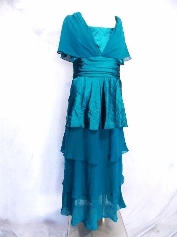 Cinderella Design Dress Sz 3XL Plus Tiered Sheer Chiffon Satin Formal Cocktail