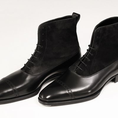 Handmade men oxford dress boot, men black suede and leather ankle ...
