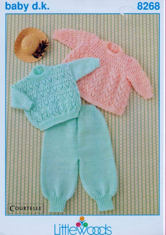 Original Vintage Knitting Lady Baby Angel Top Sweater And Trousers