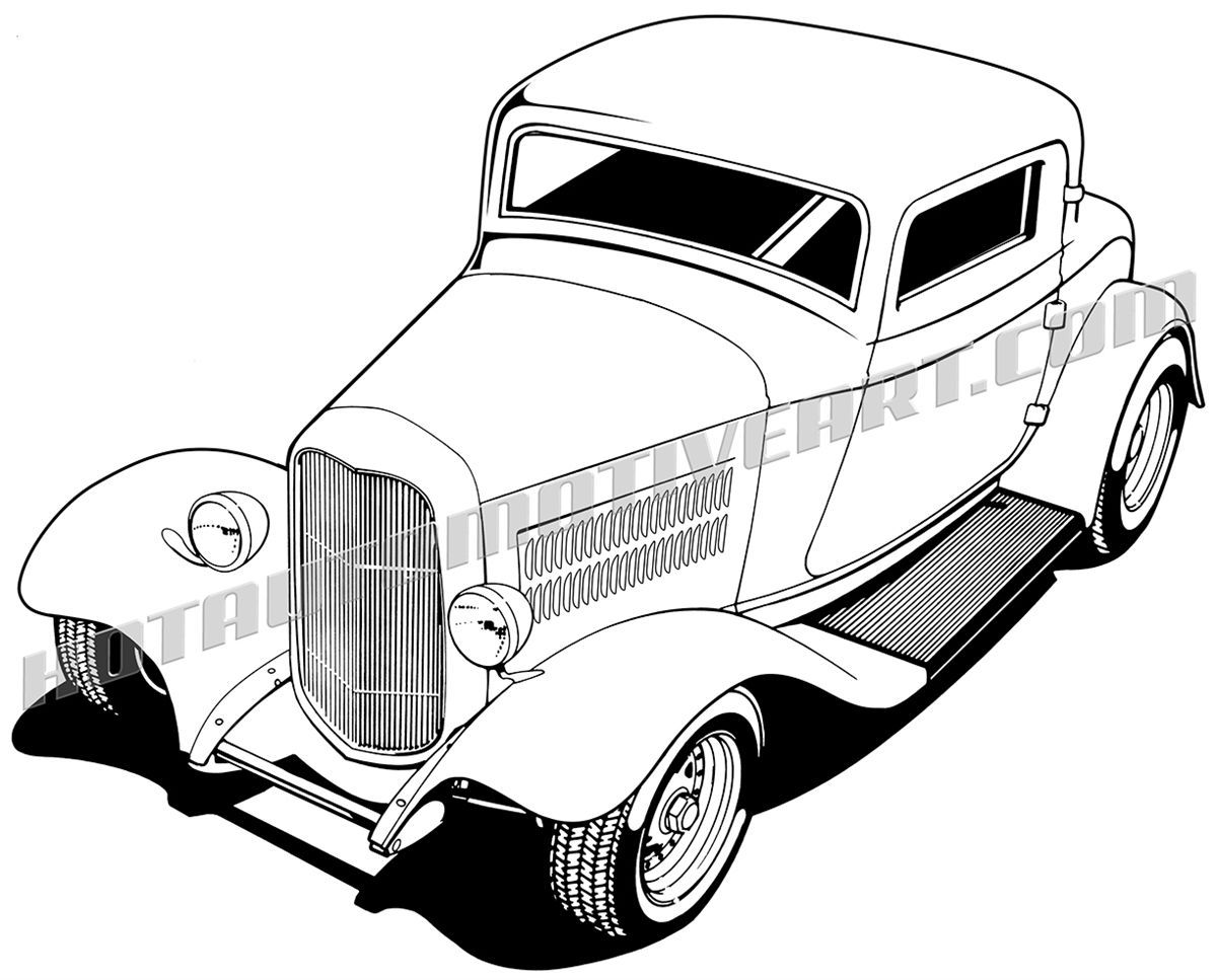 hot rod drawing 32 ford three window coupe clipart buy two rh pinterest com free hot rod clipart images free clipart hot rod