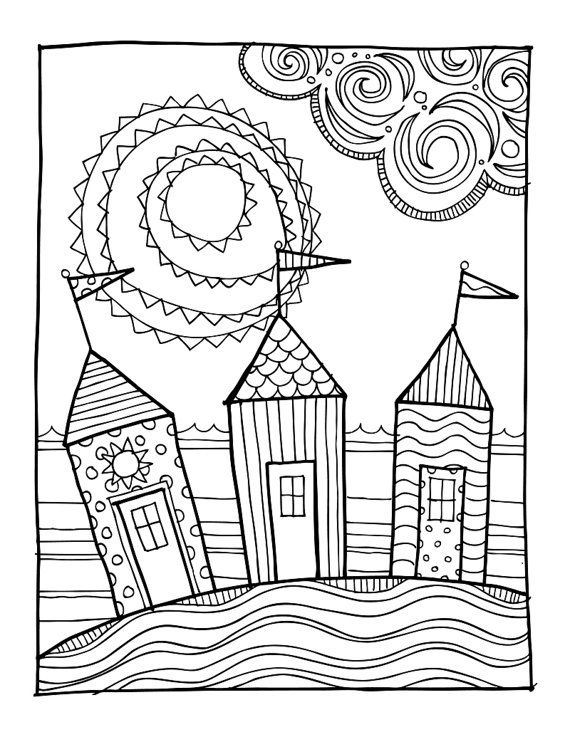 KPM Doodles Coloring page Beach houses by kpmdoodles on Etsy ...