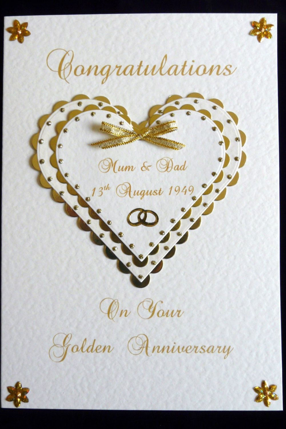 Personalised 50th Golden Wedding Anniversary Card A5 Size Golden