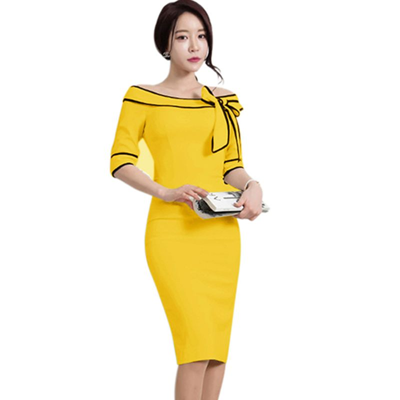e5e0a2a8ad1 Casual Fashion Elegant Bow Knee length Half Sleeves Women Summer Dress Sexy  Office Work Formal Pencil Lady Bodycon Dresses