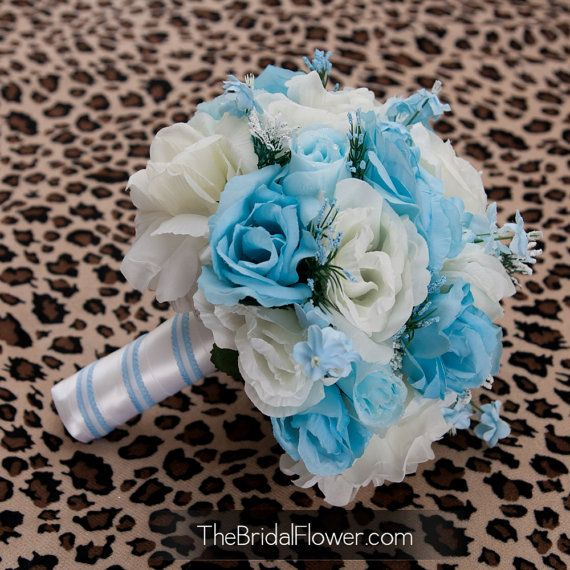 Cream and light blue bridal bouquet, something blue vintage ...