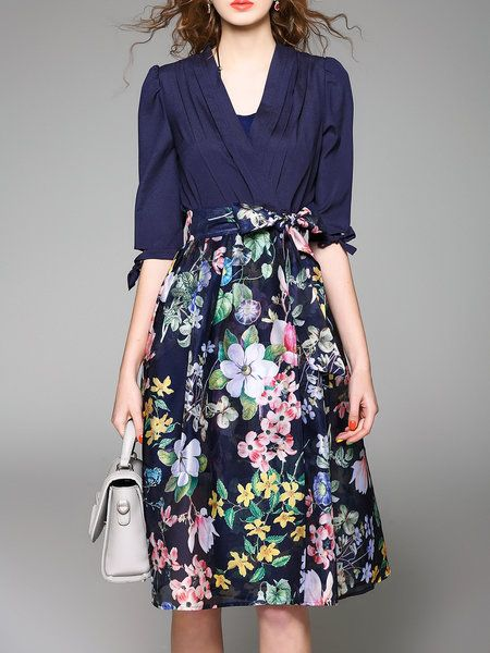 Shop Midi Dresses Blue Elegant Floral Polyester A Line Wrap Dress