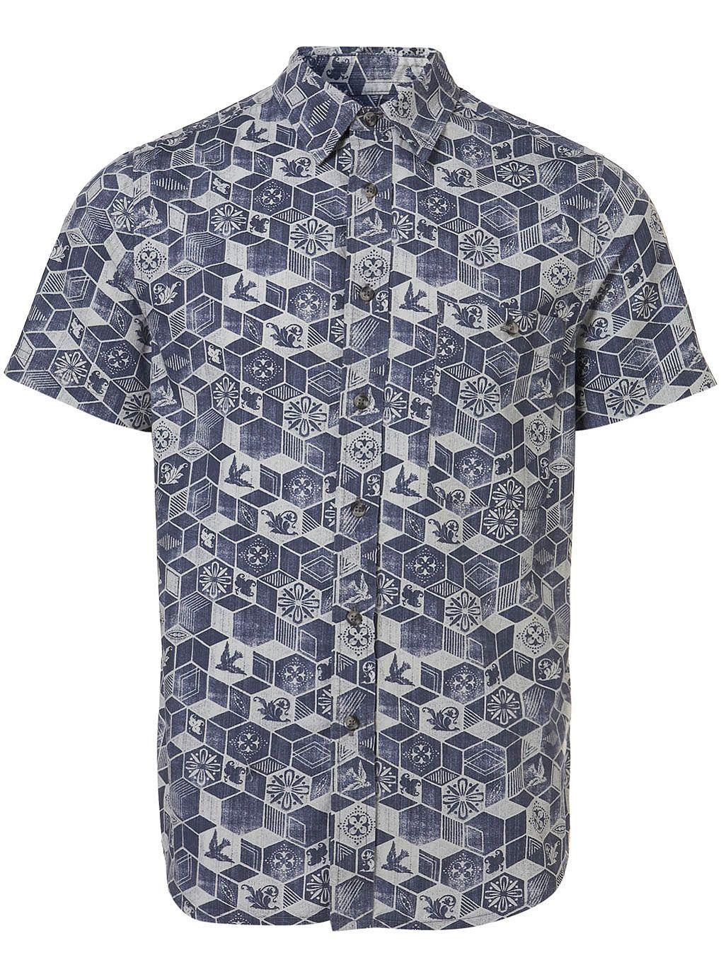 f21584ce5d Blue Woodcut Print Short Sleeve Shirt - Casual Shirts - Mens Shirts -  Clothing - TOPMAN USA