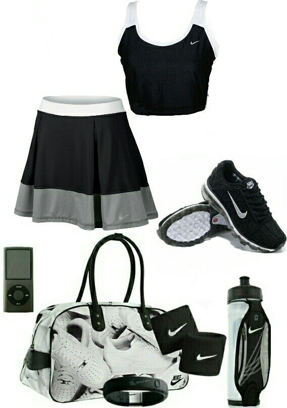 Women's fashion black and white nike tennis outfit