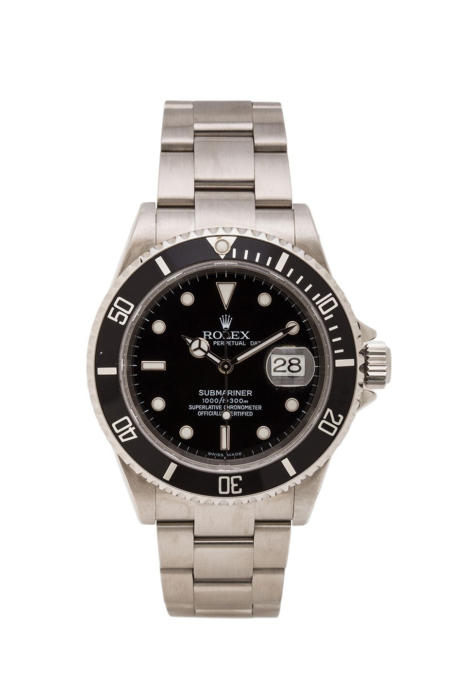 Vintage Rolex Stainless Submariner Black Dial In Silver