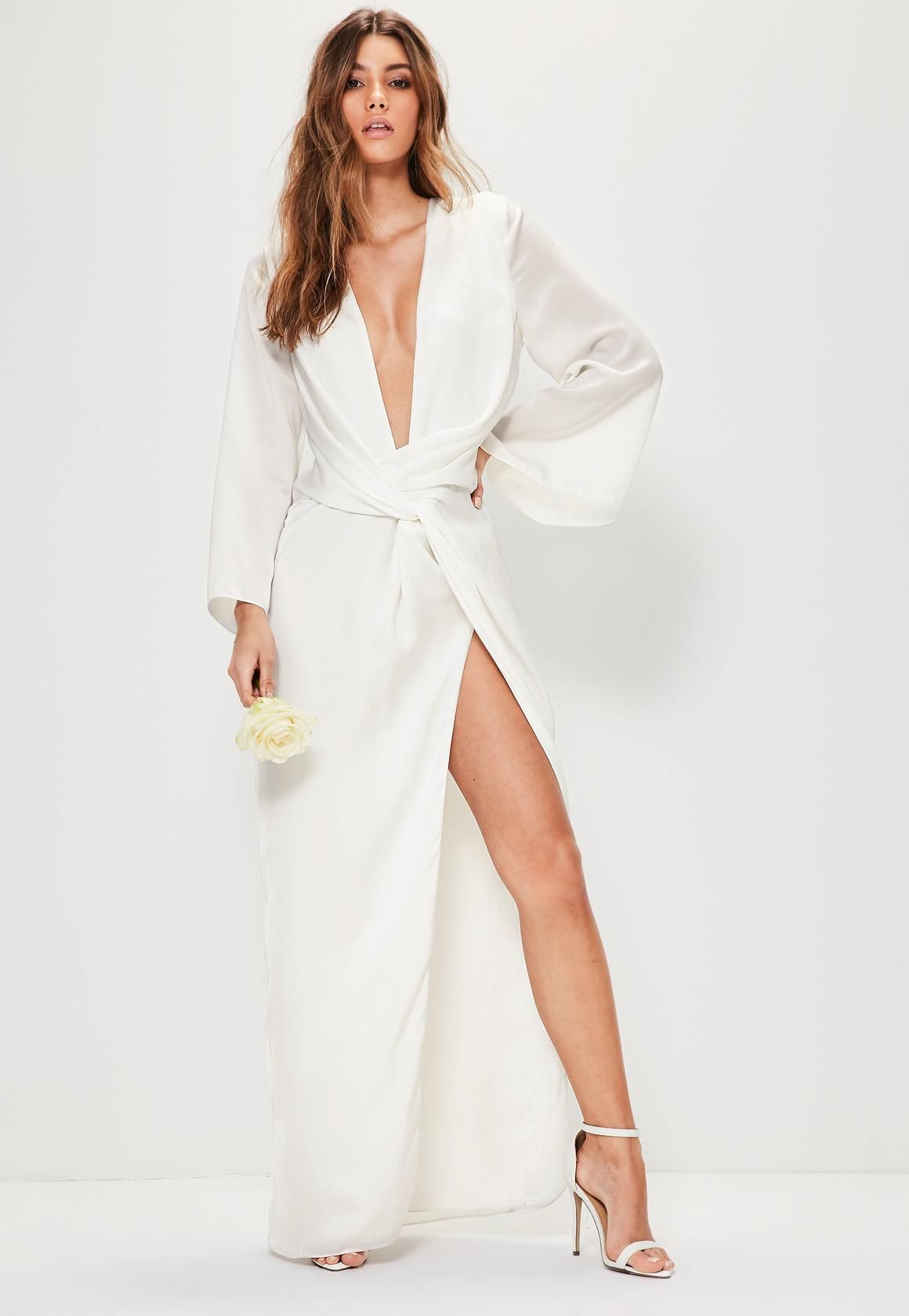 71d92163a8 Missguided - Bridal White Kimono Sleeve Twist Front Maxi Dress