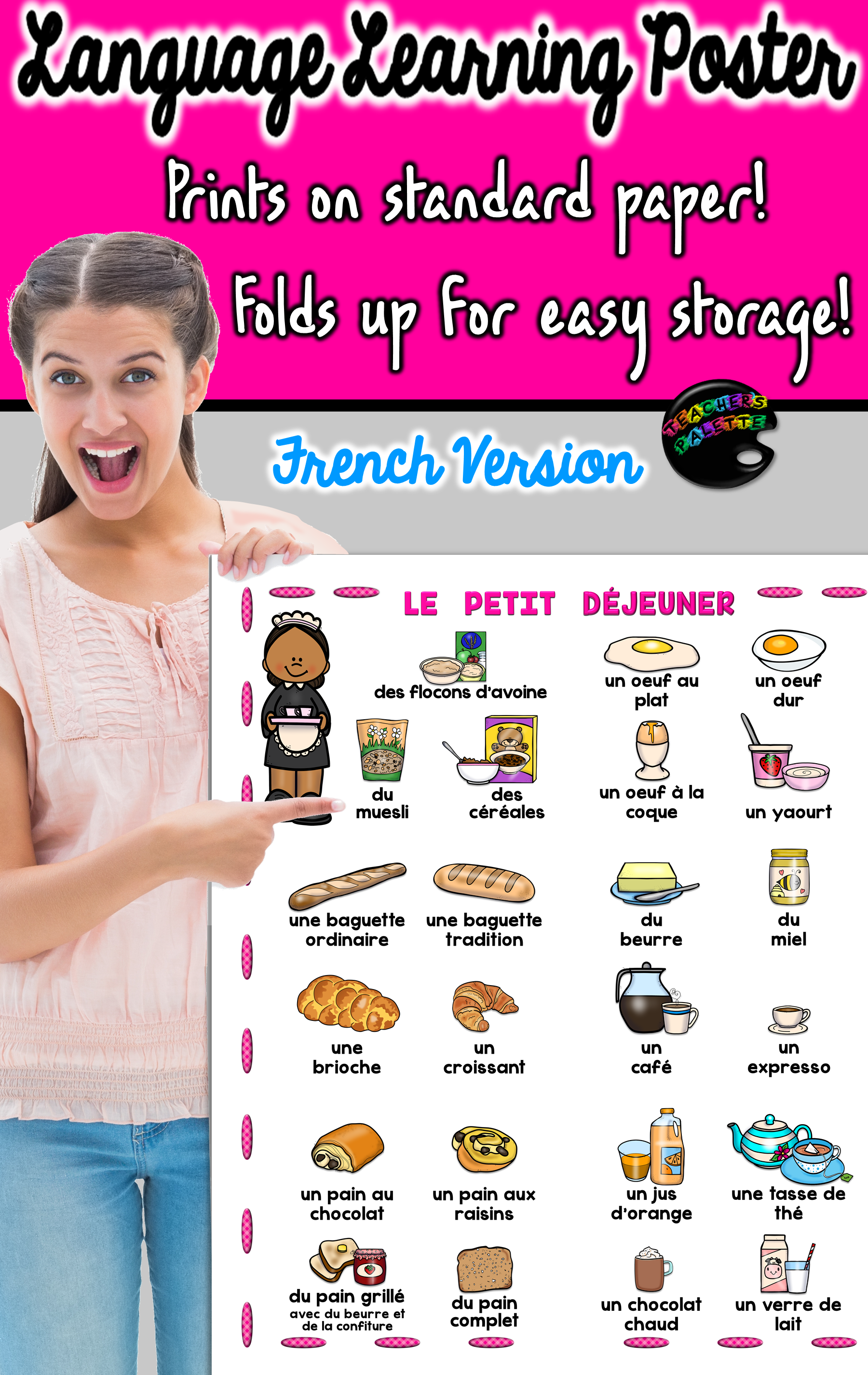 French Language Learning Vocabulary Poster Breakfast Foods