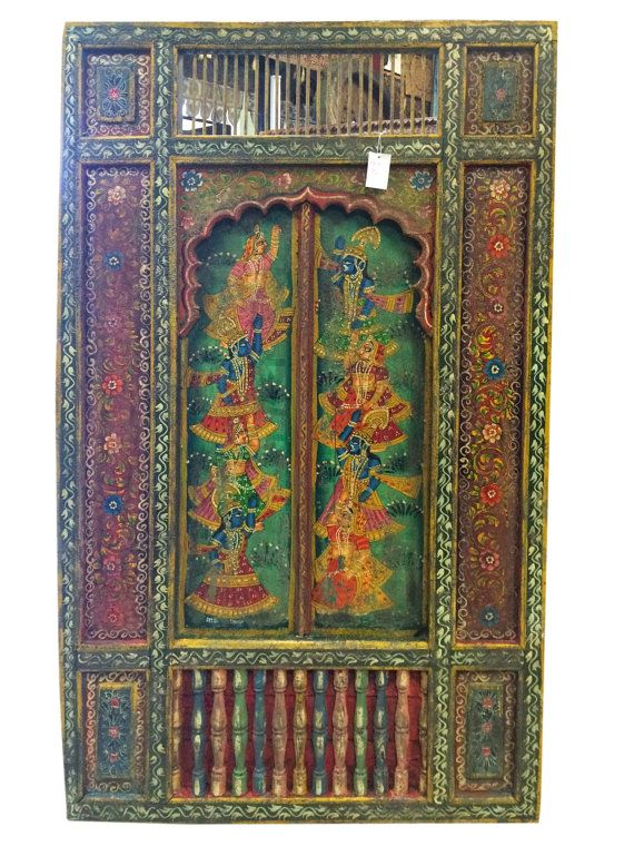 Antique Indian Colorful Vintage Jharokha Hand by MOGULGALLERY