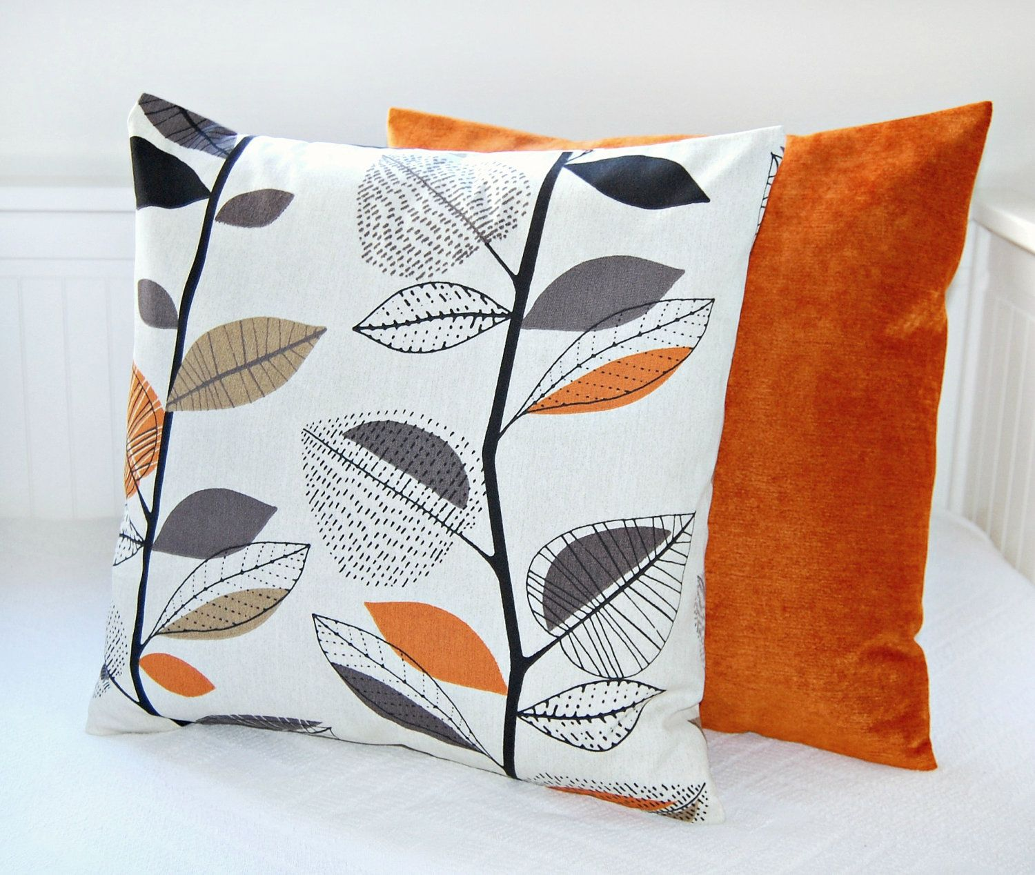 pair of pillow covers leaves accent burnt orange grey