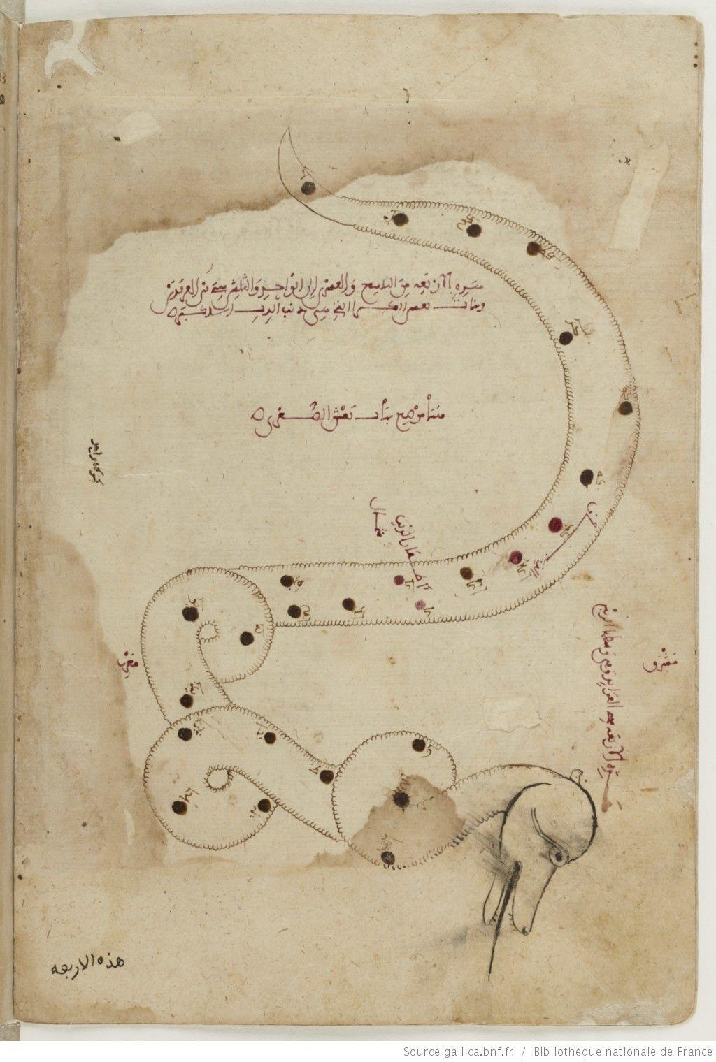 Catalogue Des Etoiles Par ʿabd Al Raḥman Ibn ʿomar Al ṣoufi Ouvrage Connu Sous Le Titre De الصور السمائية Les Figures Celestes Constellations Carte Titre