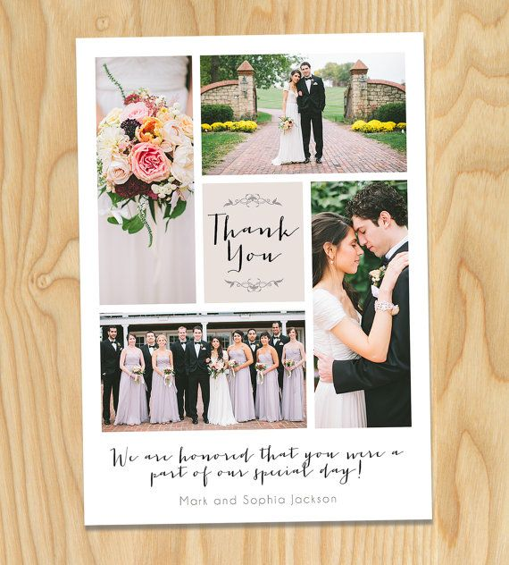 Cream Printable Wedding Thank You Photo Collage Custom Cards By Thirtyonedesigns