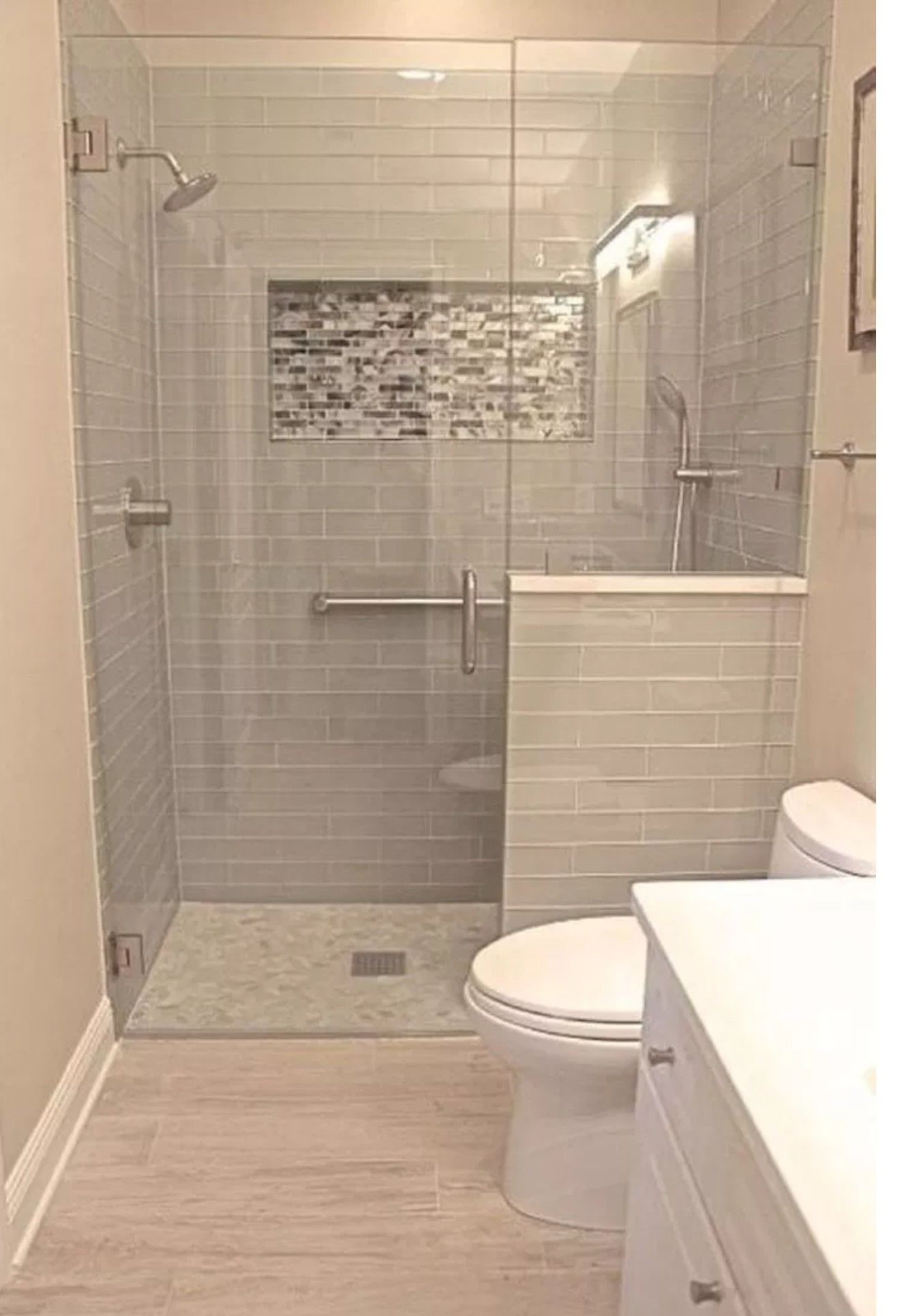 Half Wall Between Toilet And Shower Bathroom Remodel Shower Small Bathroom Bathrooms Remodel