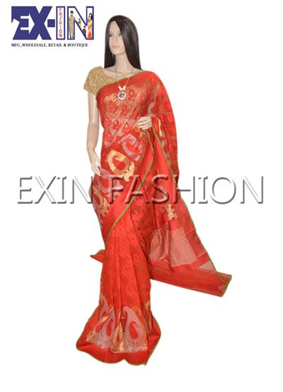 Gorgeous Red and Golden Saree from EXIN Fashion