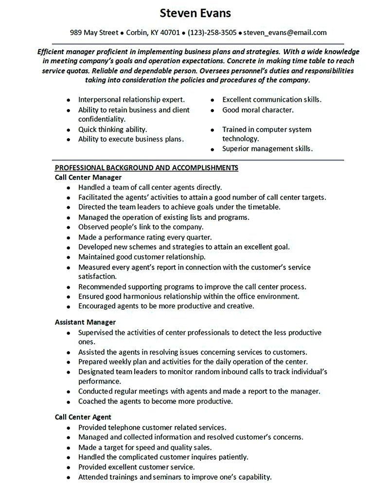 Call Center Resume For Professional With Relevant Experience Needed Is Provided Here Well Call Job Resume Examples Job Resume Samples Customer Service Resume