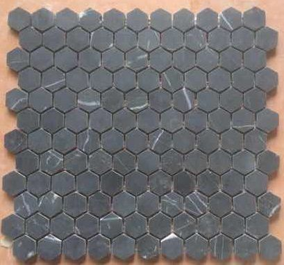 Hexagon Mosaic 25mm Pure Black (Nero Marquina) Honed | Premier Tile ...
