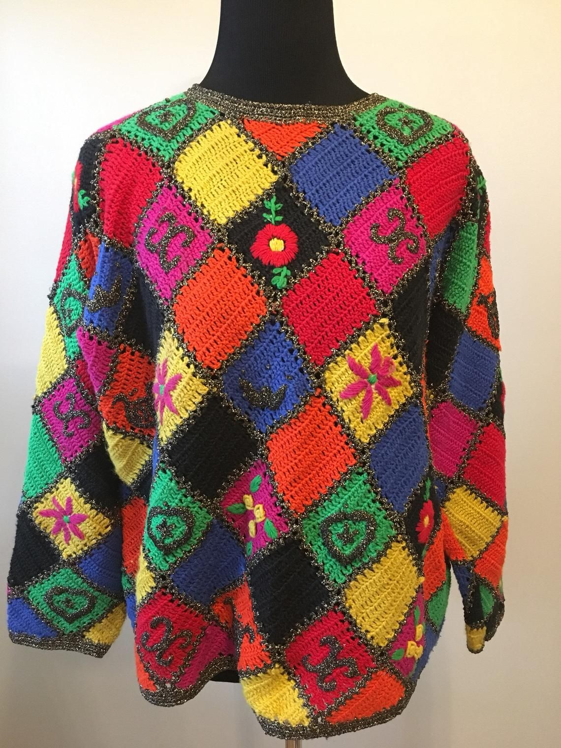 Coole Truien Dames.Vintage Sweater Funky Cool Pullover Vintage Fashion Patchwork