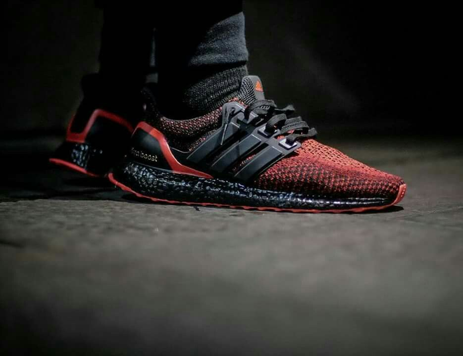 Ultra Boost 'Solar Red' Blackout Nice custom by