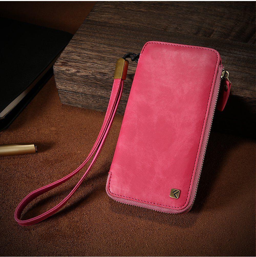 Floveme vintage pu leather zipper wallet card slots case