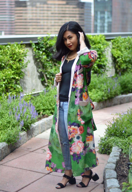 ea5a93b1a Zara long floral print kimono | Traditional Summer Outfits | Green ...