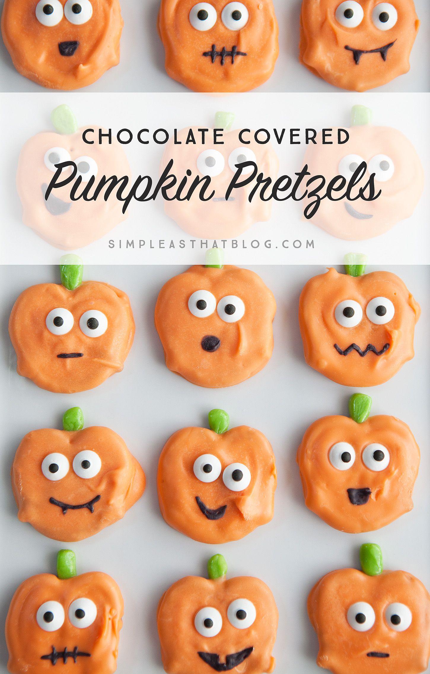 Chocolate Covered Halloween Pumpkin Pretzels
