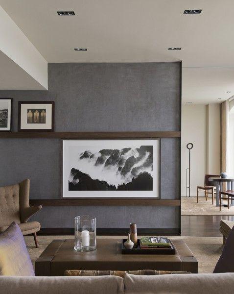 hiding tv in living room ideas cream couch sliding art to hide for new house pinterest decoracion comedor cuartos muebles televisor