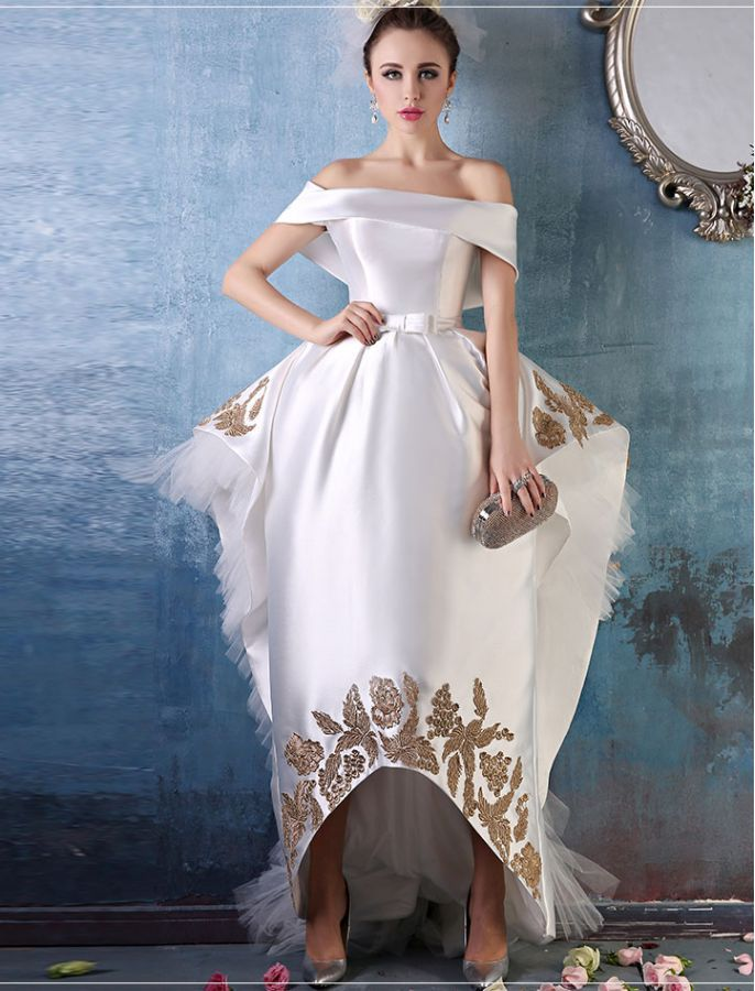 Vintage Style Off Shoulder White Ball Gown White Ball Gowns Formal Evening Dresses Ball Gowns